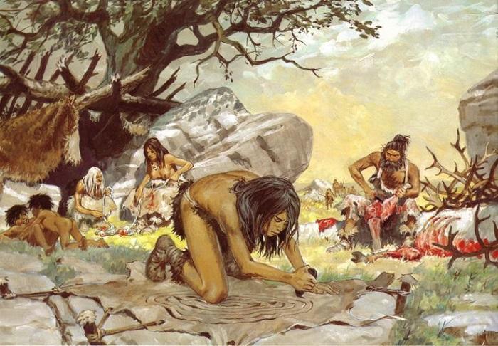 По какой-то причине художники последних двухсот лет уверены, что женщины никак не пытались убрать или обрезать волосы в каменном веке. Художник Пьер Жубер.